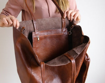 Cognac BROWN OVERSIZE SHOPPER Bag - Large Leather Tote Bag - Big Shoulder Bag, Travel Bag, Shopping Bag - Oversized Tote - Everyday Purse Ba