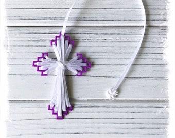 Cross Bookmark (Purple and White), Friendship Gift, Bible Bookmark, Christian Greeting, Inexpensive Gift