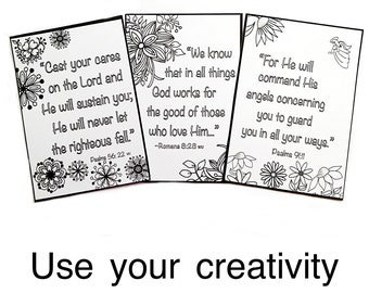 Bible Verse Color Your Own Cards, Inexpensive Gifts, Secret Sister Gifts, Inspirational Gift, Stocking Stuffers
