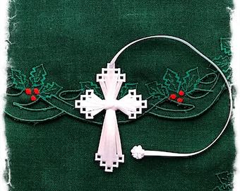 Cross Bookmark (White), Christian Gift, Secret Sister Gift, Baptism, Confirmation Gift