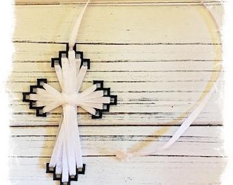 Cross Bookmark- Tuxedo, Black and White, Friendship Gift, Birthday Greeting, Inspirational Gift