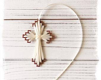 Cross Bookmark, Brown Plastic/Ivory Ribbon, Friendship Gift, Inspirational Gift, BFF