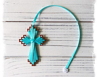 Cross Bookmark (Brown Plastic and Turquoise Ribbon), Easter, Friendship Gift, Bible Bookmark, Christian Greeting, Inexpensive, #myetsyfind
