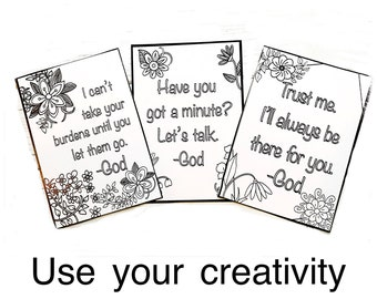 Christian Color Your Own Cards, Inexpensive Gifts, Secret Sister Gifts, Inspirational Gift, Stocking Stuffers