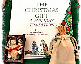 Tradition of Doing Kind Deeds-The Christmas Gift Book Set; Brown Hair/Light Skin; Manger and Bag of Straw