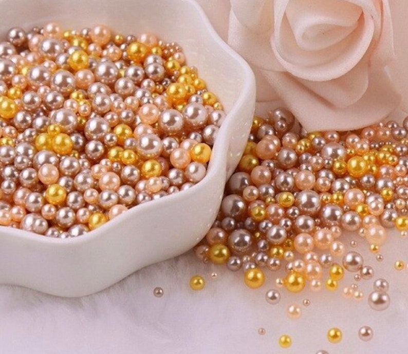 Mixed No Hole Gold Brown Pearls Slime Polymer Clay uv resin 1.5mm-5mm DIY Decoden Shaker Filler resin craft Crafting