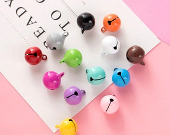 Cute Colorful 14MM Bell Charm Pendant for Jewelry Making, DIY, Keychain Accessories Gold Findings