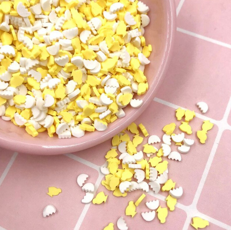 Broken Egg Shell and Yellow Chick Polymer Clay Sprinkle Mix Decoden Shaker Fillers resin crafts 5mm epoxy resin uv resin
