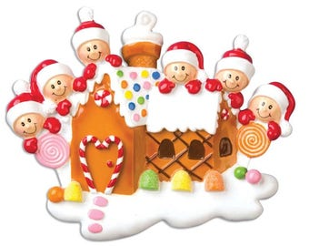 Gingerbread House With family of  6 - Personalized Names