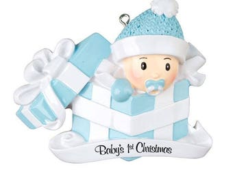 Baby Boy First Christmas Ornament Baby Boy In Present Ornament Christmas Baby Baby's 1st Christmas Ornament Personalized Christmas Ornament