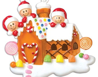 Gingerbread House With 3 - Personalized Names