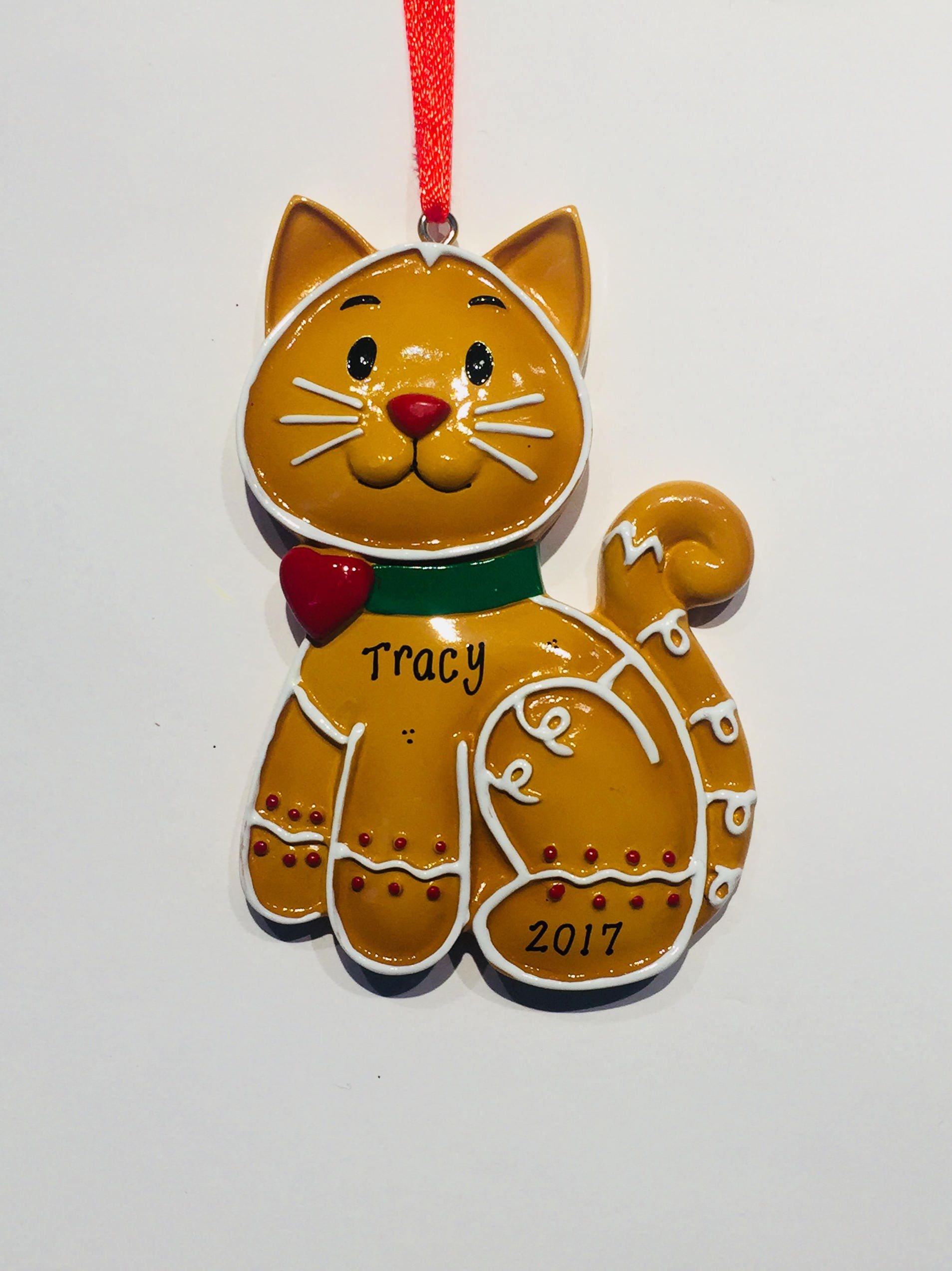 Cat Gingerbread Cookie Personalized Christmas Ornament