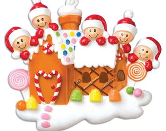 Gingerbread House Family of 5- Gingerbread Personalized Christmas Ornament - Family Ornament  - Gingerbread House - Gingerbread Ornament