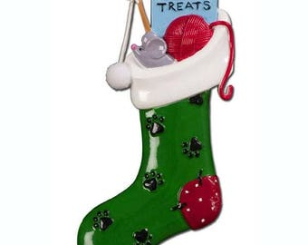 Pet Stocking Ornament  Kitty Stocking  Cat Stocking  Personalized Christmas Ornament