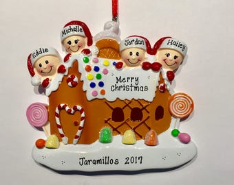 Gingerbread House With 4 - Personalized Names
