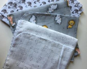 Three Lightweight Muslin Swaddle Animal Print Receiving Blankets And Matching Burpcloths
