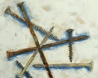 "NAILS small still life ORIGINAL oil painting by Karen Barton 6""x6"" Man Cave Art Contemporary Modern Art"