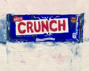 "Nestle Chocolate CRUNCH candy bar small still life original oil painting by Karen Barton 5""x7"""