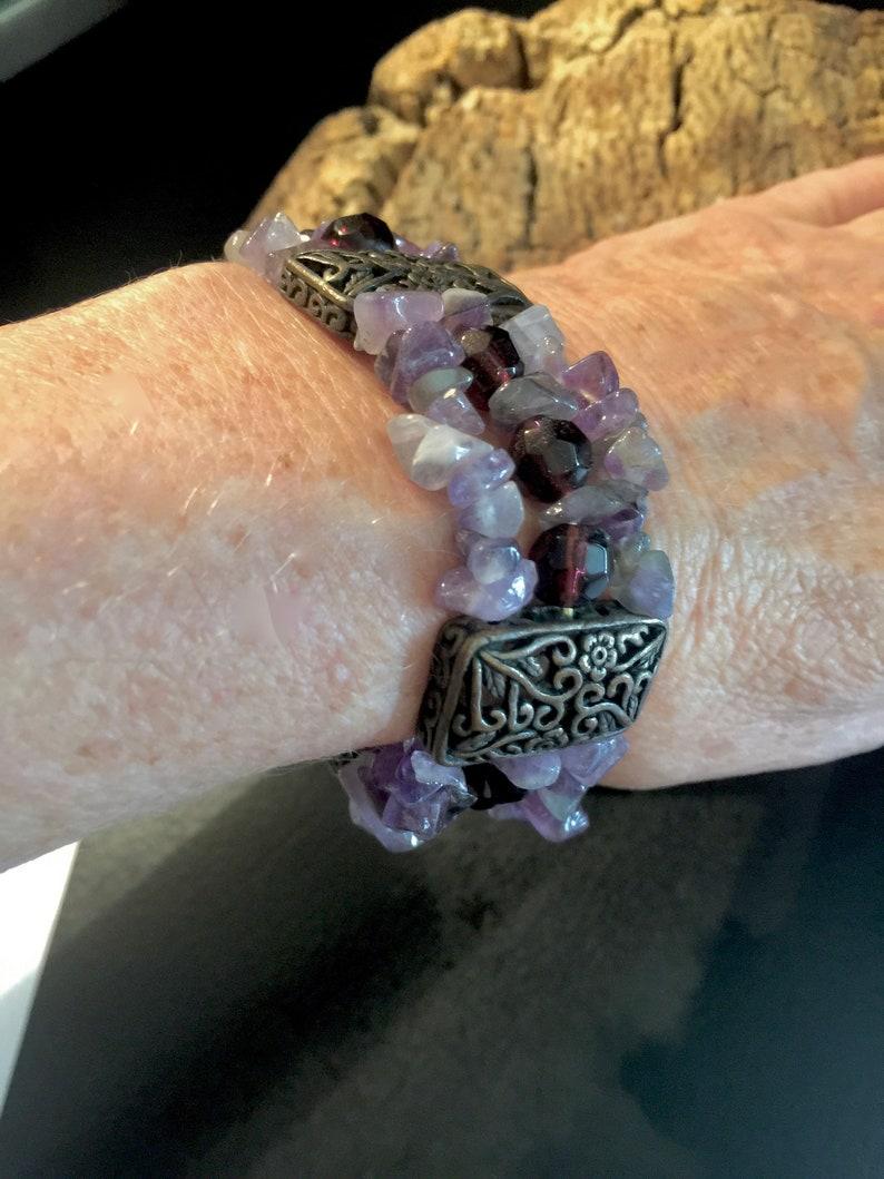 6d3b29ede77 Pretty Purple Amethyst and Bronze Stretch Cuff Bracelet | Etsy