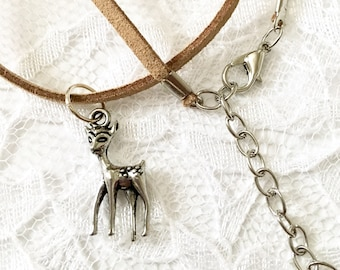 Doe necklace / baby deer necklace / brown faux suede choker