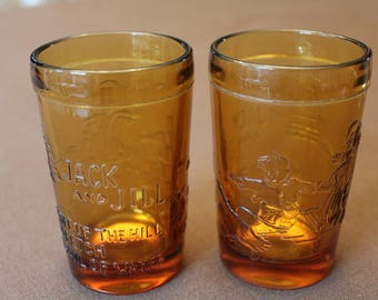 """2 Vintage Amber Tiara Juice Glasses - Jack & Jill Went Up the Hill - 4"""" Tall"""