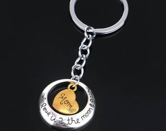 Keychain, charms, mom, keyring, gift, love you to the moon and back
