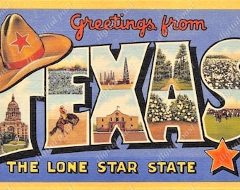 Texas postcard etsy greetings from texas postcard image digital download lone star state cowboy hat vintage texas postcard retro large letters postcard m4hsunfo