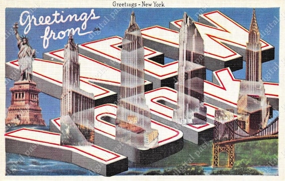 Greetings from new york big letters art deco postcard etsy image 0 m4hsunfo