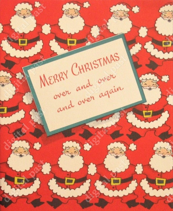 Christmas Chain Clipart.Retro Christmas Card Clipart Instant Digital Download Vintage Illustration Chain Of Santa Clauses Printable Christmas Card Download