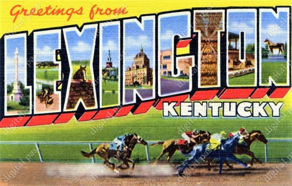 Greetings from Lexington Kentucky - vintage postcard clipart image -  INSTANT DOWNLOAD - retro printable postcard, kentucky derby horseracing