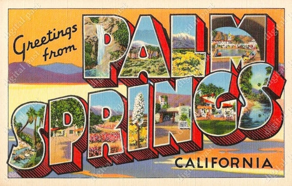 Greetings from palm springs california vintage postcard etsy image 0 m4hsunfo