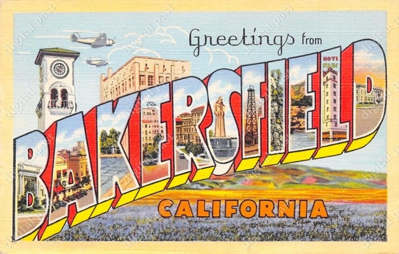 Greetings from bakersfield california vintage postcard clipart greetings from bakersfield california vintage postcard clipart image instant download retro large letter postcard printable postcard from digitalpast m4hsunfo