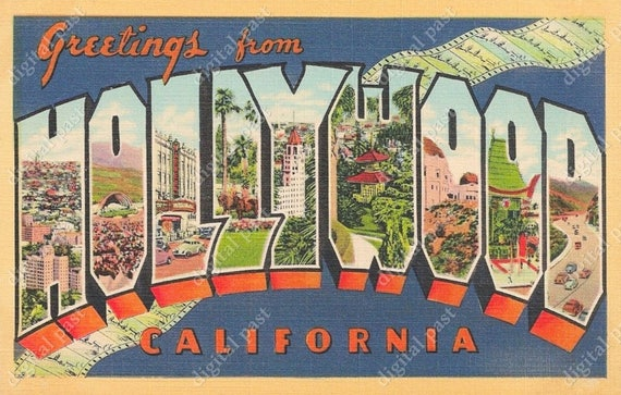 Greetings from hollywood california vintage postcard clipart etsy image 0 m4hsunfo