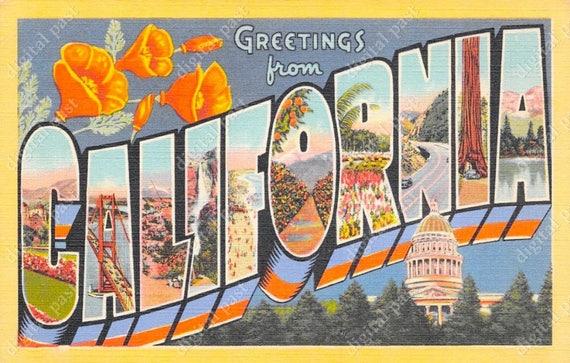California big letters vintage postcard instant download etsy image 0 m4hsunfo