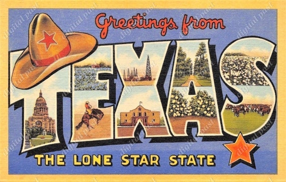 Greetings from texas postcard image digital download lone m4hsunfo