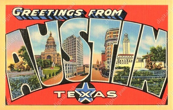 Austin texas greetings digital postcard clipart image etsy image 0 m4hsunfo