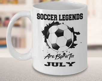 July Soccer Legends Dream League 15oz White Coffee Mug Gift for Soccer Players, Soccer Gift Idea, Soccer Coach Gift, Soccer Mug