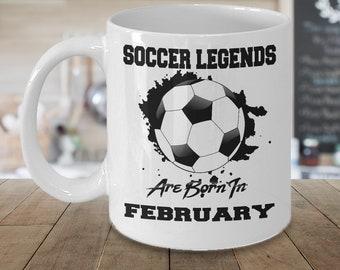 February Soccer Legends Dream League 15oz White Coffee Mug Gift for Soccer Players, Soccer Gift Idea, Soccer Coach Gift, Soccer Mug