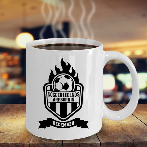 December Soccer Legends Coffee Mug 11oz White Ceramic Cup