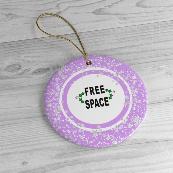 Free Space Bingo Ball Snowflakes With Holly Ceramic Christmas Tree Ornament