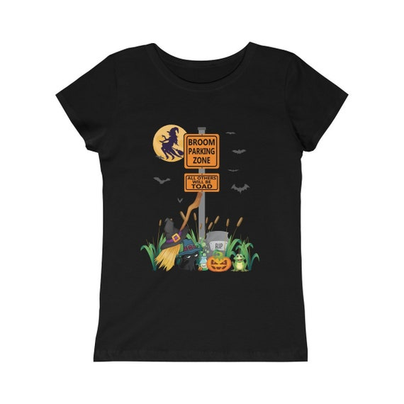 Girls Witches Funny Halloween Shirts Broom Parking Zone