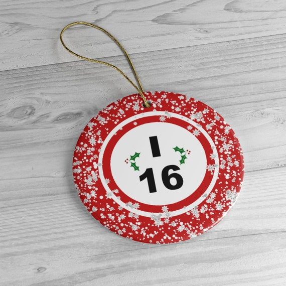 I-16 Bingo Ball Snowflakes With Holly Ceramic Christmas Tree Ornament - Circle Only