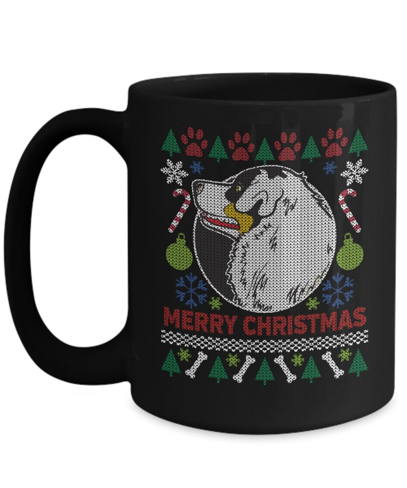 Aussie Dog Xmas Ugly Sweater Merry Christmas 11oz or 15oz Black Coffee Mug Australian Shepherd Gift Aussie Lover Ugly Sweater Cup