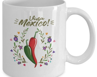 Viva Mexico! 11oz White Coffee Mug Hot Peppers - Great For Cinco de Mayo Or Other Mexican Holidays Or Celebrations