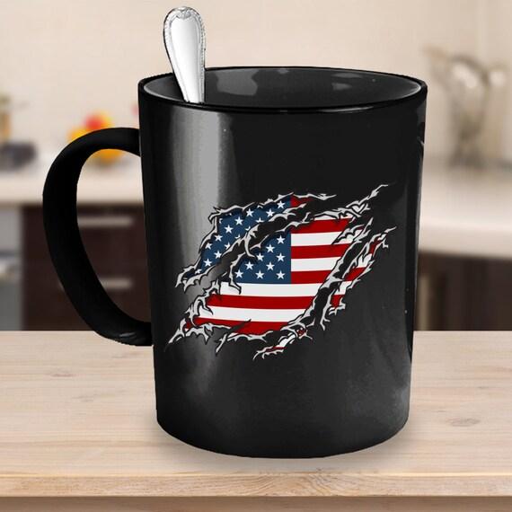 American Flag Coffee Mug 11 Or 15oz White Or Black Ceramic Etsy