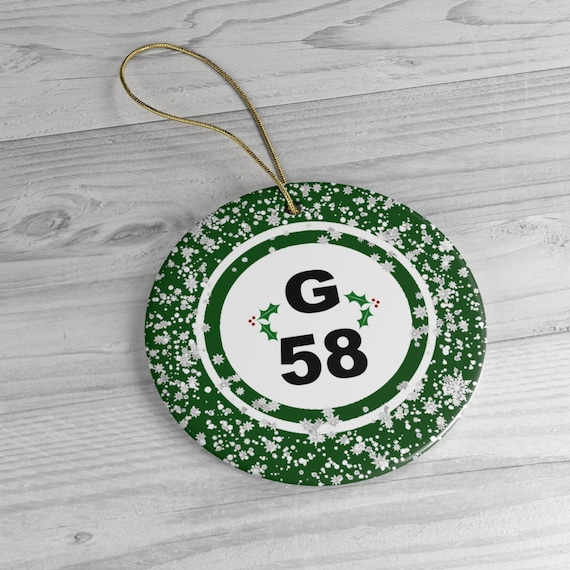 G58 Bingo Ball Snowflakes With Holly Ceramic Christmas Tree Ornament