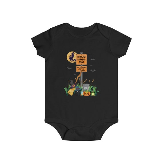 Infant Witches Funny Halloween Bodysuit Broom Parking Zone