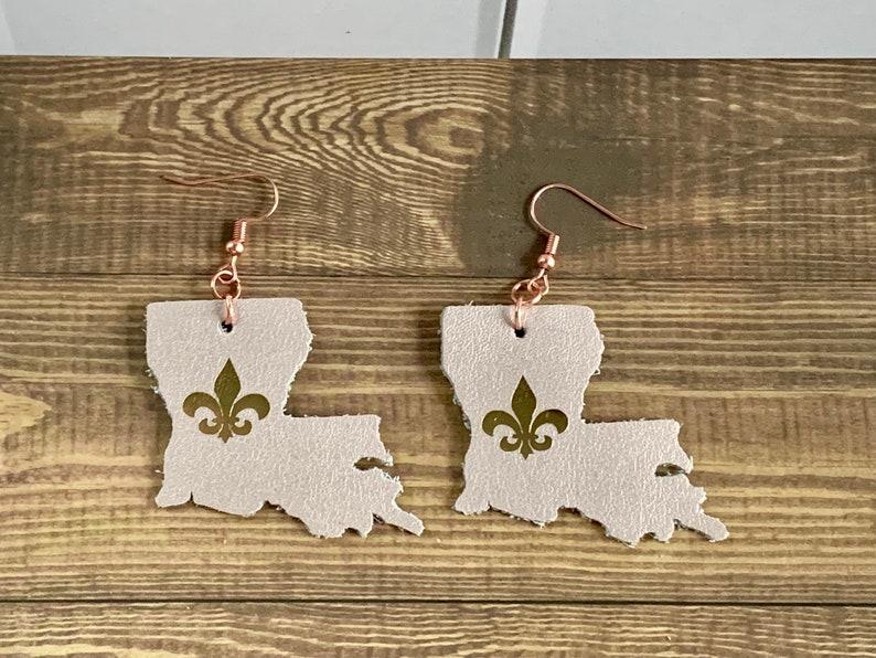 Louisiana State leather earrings