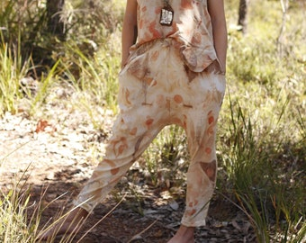 Drop Crotch Pants, 100% Silk, Eco Dyed