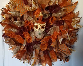 Fall Wreath- Autumn Wreath- Thanksgiving Wreath- Welcome Wreath- Deco Mesh Wreath- Owl Wreath- Burlap Wreath